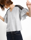 Striped Top With Lace Raglan Sleeves