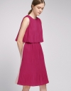 Color Block Layered Pleated Dress