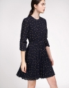 Sleeved Shift Dress With Pleated Skirt