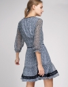 Sleeved Wrap Dress With Lace Trims