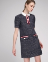 Sleeved Shift Tweed Dress