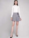 Belted Pleated Houndstooth Skirt