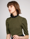 Lace Trimmed Top With Puff Sleeves
