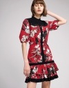 Puff Sleeved Panelled Floral Dress