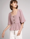 Sleeved Top With Gathered Hem
