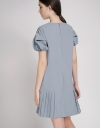Shift Dress With Ruched Sleeves