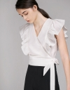V-Neck Tied Top With Ruffles