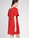 Bell Sleeved Shift Dress With Tied Back