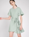 Belted Dress With Asymmetric Layered Hem