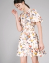 A-Line Floral Dress With Gathered Detail