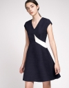 Pleated Tweed Dress With Contrast Panel