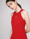 Cut-Out Fitted Dress With Pleated Hem
