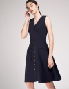 A-Line Midi Dress With Button Front