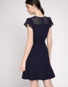Belted Shift Dress With Ruffled Sleeves