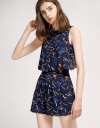 Layered Printed Romper With Pleated Detail