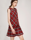 Checked Shift Dress With Pleated Hem