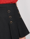 Tweed Pleated Skirt With Button Front