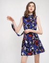 Abstract Printed Shift Dress With Belt