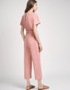Drawstring Jumpsuit With Button Detail
