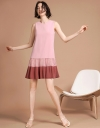 Embroidered Shift Dress With Layered Hem