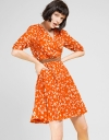 Printed Dress With Contrast Waist Panel