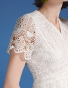 Sleeved V-Neck Lace Top