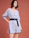 Ribbed Shift Romper With Belt
