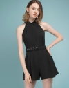 Sleeveless Belted Romper With Collar