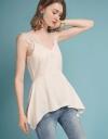 V-Neckline Blouse With Flouncy Hem