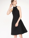 Pleated A-Line Dress With Halter Neck