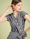 Tied Striped Dress With Wrap Front