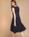 Lace-Trimmed Dress With Pleated Hem