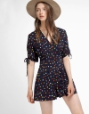 Dotted Romper With Pleated Detail