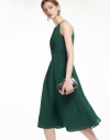 Halter-Neck Midi Dress With Pleated Detail