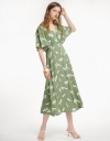 Printed Midi Dress With Bell Sleeves
