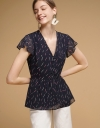 V-Neck Printed Top With Gathered Detail