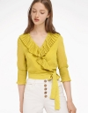 Tied Ruffled Top With Ruched Sleeves