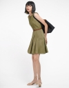 Belted Dress With Pleated Hem