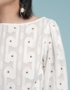 Sleeved Jacquard Dotted Top
