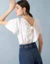 Sleeved Embroidered Top With Tied Back