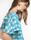 Smocked Printed Top With Tied Neck