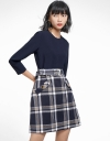 Sleeved Belted Dress With Checked Skirt