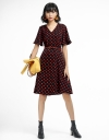 Dotted Belted Dress With Gathered Detail