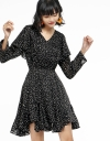 Sleeved Dotted Dress With Elasticated Waist