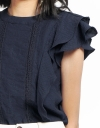 Ribbed Top With Lace-Trimmed Detail