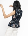 Printed Belted Top With Asymmetric Hem