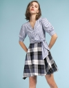 Tied Striped Dress With Checked Skirt