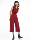 Ruffled Jumpsuit With Tied Neck