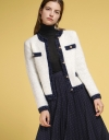 Color Block Tweed Coat With Button Front