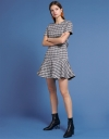 Tweed Dress With Belt-Resemble Detail